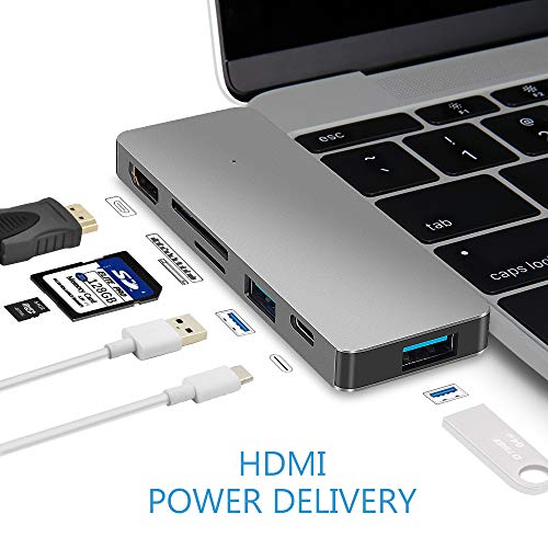 USB Type C Hub Power Delivery, Multi-Port Dongle, USBC Adapter Combo 6-in-1: 4K HDMI Output+USB-C Port +2 USB 3.0 Ports+SD&Micro SD/TF Card Reader for MacBook Pro 2016, All ULTRABOOK with ()