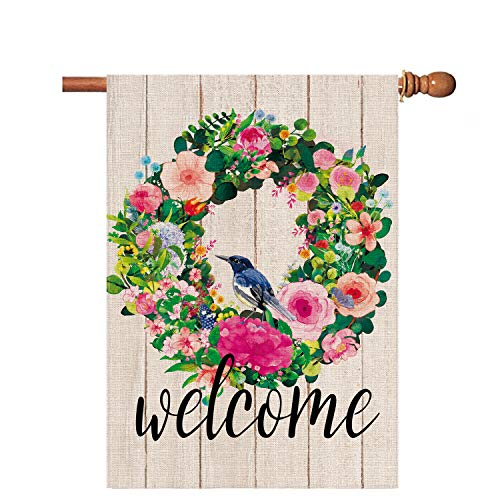Hexagram Welcome Flower Wreath Spring Flags 28 x 40 Double Sided,Decrative Yard Burlap House Flag,Vertical Outdoor Spring and Summer Decoration Sign,Farmhouse Large Garden Flag