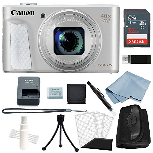 Powershot Basic Accessory - Canon Powershot SX730 HS Bundle (Silver) + Basic Accessory Kit - Including to Get Started