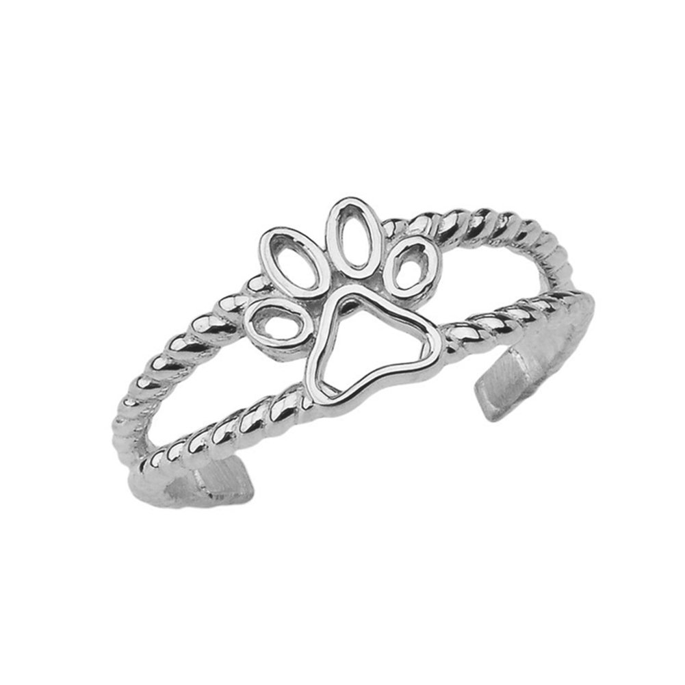 Fine Sterling Silver Dog Paw Print Double Rope Toe Ring