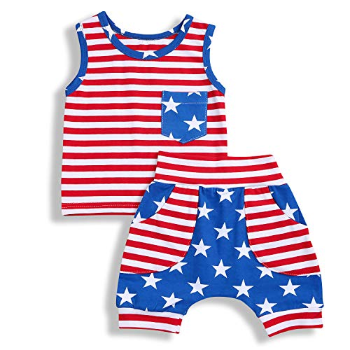 GRNSHTS Baby Boys 4th of July Shorts Set American Flag Star Vest Hoodie + Striped Shorts 2pcs Independence Day Outfits ()