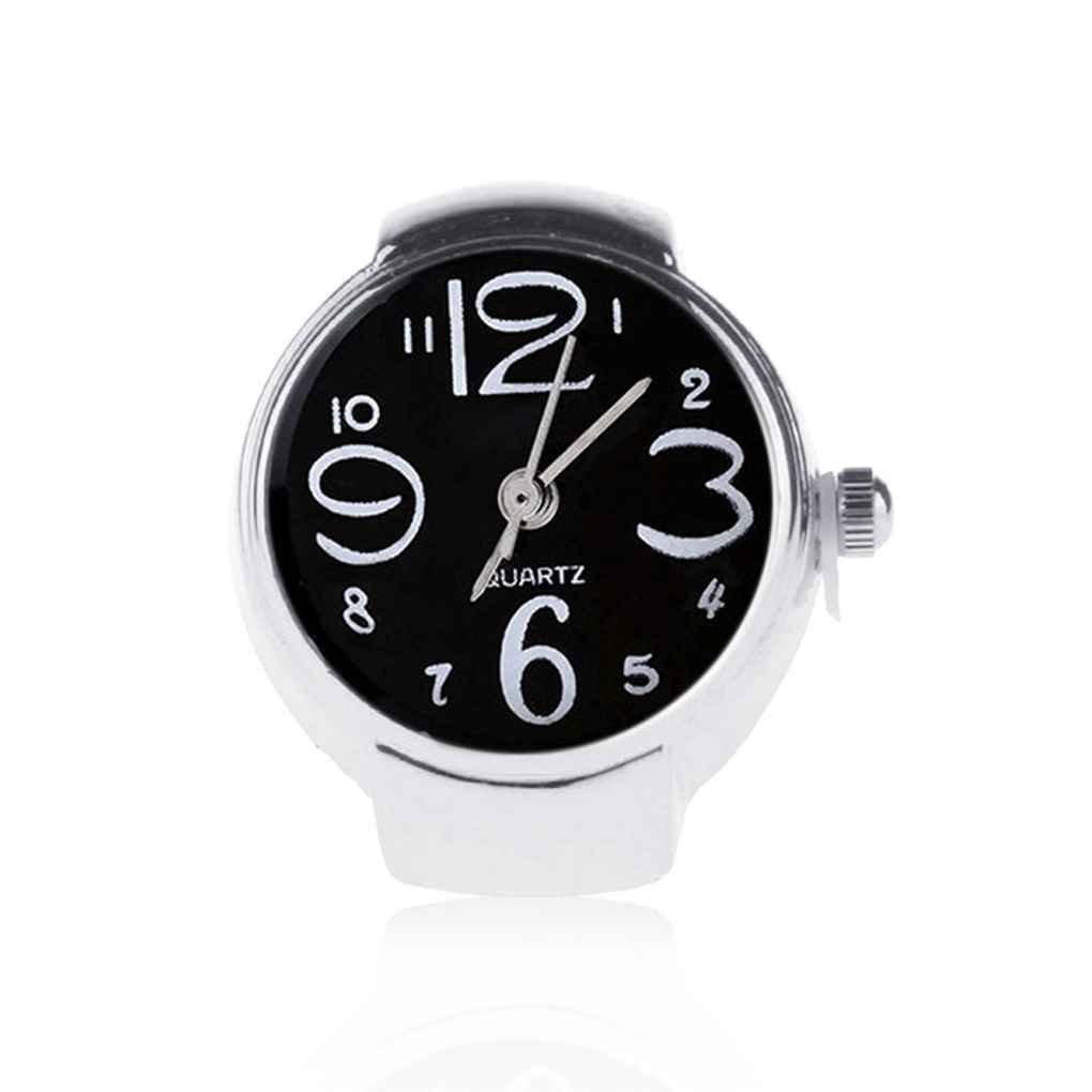 Demino Unisex Mini 5 Colores Anillo de Pareja Relojes Hombres Mujeres Mano Reloj elástico de la Correa de Acero Inoxidable Negro: Amazon.es: Hogar