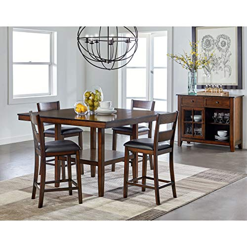 (Standard Furniture Pendwood Counter Height Table & Four Chairs Set, Dark Cherry Brown)