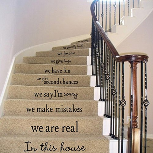 Owill Stylish Steps Sticker Removable Stair Sticker Home Decor Ceramic Tiles Patterns (A, Black)
