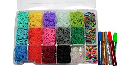 Loom Rainbow Rubber Band Complete Collection Organizer Storage Kit - Includes Over 4000 Rainbow Rubber Bands Including Glow In The Dark Individually Bagged and 100 S Clips In a Convenient Storage Organizer Case With Glitter Glue To Decorate
