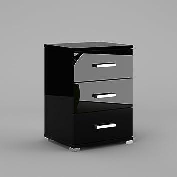 labi furniture neli n3 bedside cabinet 3 drawer carcass black high