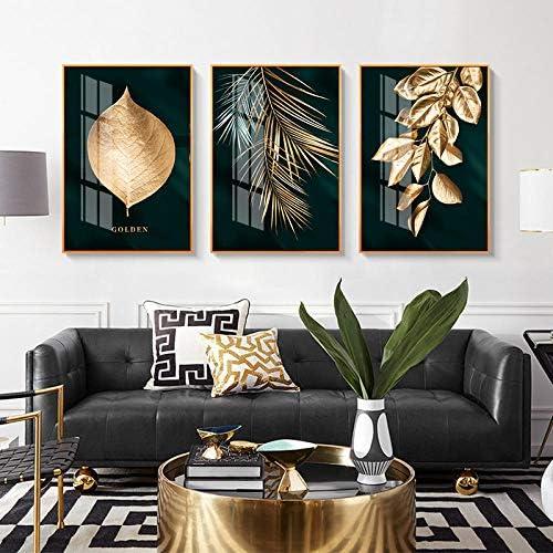 Llxhg北欧の装飾ゴールデンリーフキャンバス抽象絵画ウォールアートポスターとプリント装飾写真用リビングルーム家の装飾-50×