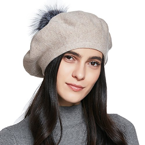 YINONIY Women's Knitted Cotton Beret Hat with Fur Pom Pom - Off-White