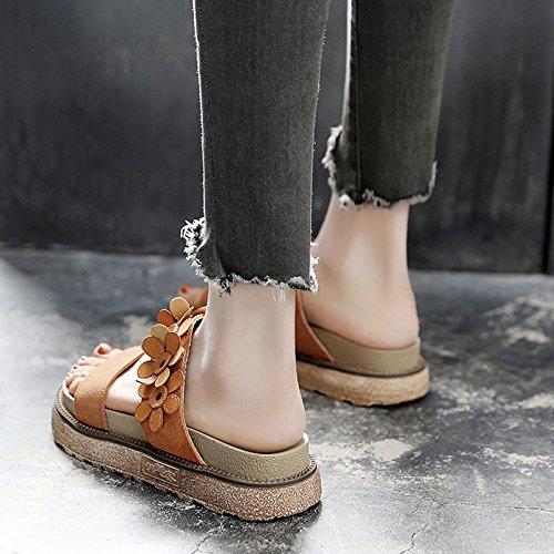 de sandalias moda mujer verano Romano Flop planas Flop de exterior SOHOEOS Flip nuevo sandalias Playa Señoras para señoras Brown Verano Flip piscina señoras de qwnIZwOPX