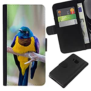 Stuss Case / Funda Carcasa PU de Cuero - Rama plumas pájaro de oro - HTC One M9