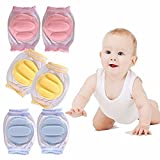 Mai Poetry Baby Crawling Anti-Slip Knee, Unisex Baby Toddlers Kneepads 3 Pairs