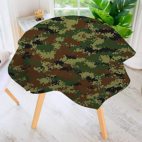 aolankaili Hand Screen Printed Tablecloth- Graphic uflage Theme Armed Forces Uniform Modern Printed Spill Proof Cloth Round Tablecloths 59
