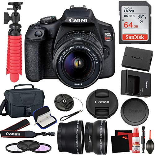 Canon EOS Rebel T7 DSLR Camera with 18-55mm DC III Lens and 64GB Memory Card, Carrying Case, Filters, and More Accessories