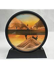Dynamic Moving Sand Glass Frame Moving Sand Painting|Flowing Sand Painting 3D Natural Landscape|Home Decoration Flowing Sand Frame Office Work Decor (Color : E, Size : 7 INCH)