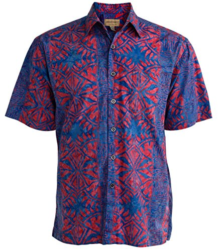 Johari West Geometric Forest Tropical Hawaiian Batik Shirt by (2X Tall, Ruby)
