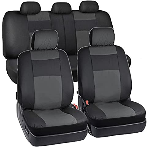 BDK Black & Charcoal Synthetic Leather Seat Covers for Car SUV Van - Affordable PU Vinyle Replacement (2012 Honda Fit Seat Covers)