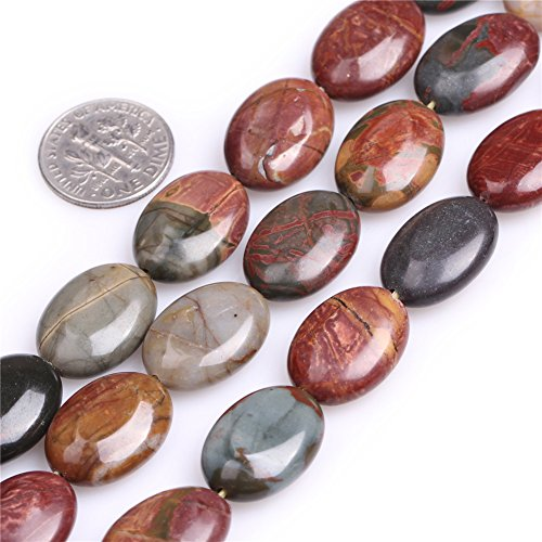 JOE FOREMAN 13x18mm Picasso Jasper Semi Precious Gemstone Oval Loose Beads for Jewelry Making DIY Handmade Craft Supplies 15