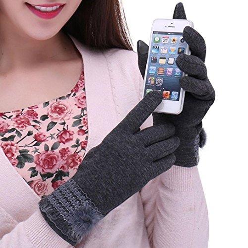 Winhurn Winter Elegant Design Screen Touch Women Gloves for Outdoor Dress (Grey) - Prime Training Gloves 16 Oz Grey