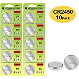CR2450 Battery - 3v Lithium Coin Cell Batteries - High Capacity 700mAh Button Cell Battery CR2450 for Flameless Candle, Remote, Window Sensor 10 Pack
