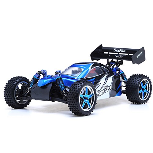 Car Nitro Control Remote Gas (1/10th 2.4Ghz Exceed RC Brushless PRO 2.4Ghz Electric SunFire RTR Off Road Buggy (BB Blue))