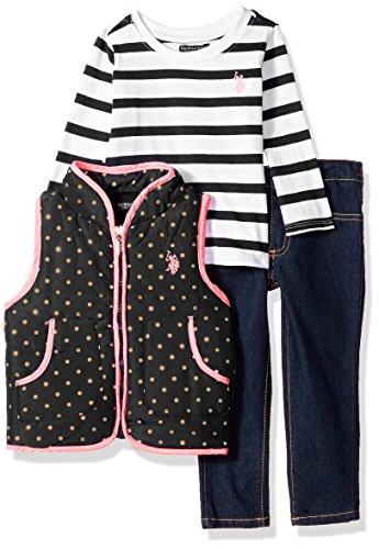Polo Knit Pant Set (U.S. Polo Assn. Little Girls' Knit Top, Vest and Pant Set, Black-6819, 6)