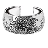 Jade Angel Retro Vintage 925 Sterling Silver Wide Cuff Bracelet Engraved Flower
