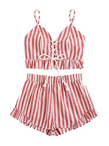 MAKEMECHIC Women's 2 Piece Outfit Summer Striped V Neck Crop Cami Top with Shorts Red-3 Large -