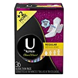 Kotex Clean wear Ultra Thin Pads with Wings, Regular, Fragrance-Free, 36 Count
