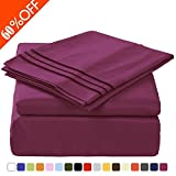 King Size 4-Piece Bed Sheets Set with Deep Pocket by MEROUS - Hypoallergenic Microfiber Bedding - Wrinkle, Fade, Stain Resistant - Purple