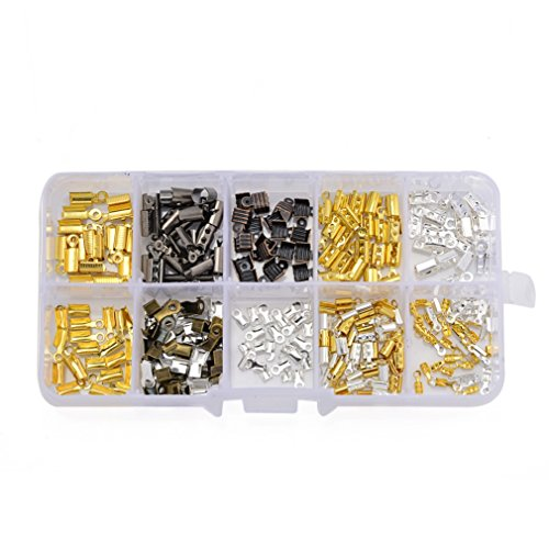 ZX Jewelry (260 PCS)Iron Fold Over Cord Ends Caps Crimp With Loop for Leather Jewelry Findings