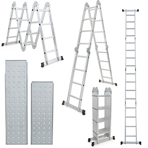 15.5ft Multi Purpose Aluminum Folding Step Ladder Scaffold Ladder W/2 Plate
