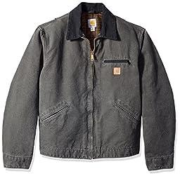 Carhartt Men\'s Blanket Lined Sandstone Detroit Jacket J97,Gravel,Medium