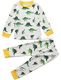 Sumen ❤️Toddler Baby Girls Boys Long Sleeve Tops Cartoon Pants Outfits Pyjamas Set Spring Sleepwear (3T, Gray)