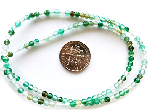 3 Pack Green and White Agate Natural/Dyed Gemstone Beads for Jewelry Making 2-3mm Round