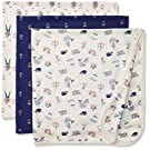 Rosie Pope Baby 3-Pack Ahoy Captain Handsome Blankets, Twilight Blue, One Size