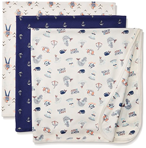 Rosie Pope Baby Boys' Blankets 3 Pack, Twilight Blue, One Size ()