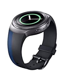 Tonsee Luxury Silicone Watch Band Strap For Samsung Galaxy Gear S2 SM-R720 - Black/Blue