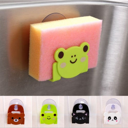 - Grocery House Cute Animal Kitchen Suction Cup Soap Sponge Holder (Green-frog)