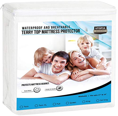 (Utopia Bedding Premium Waterproof Mattress Protector - Breathable Fitted Mattress Cover (Twin))