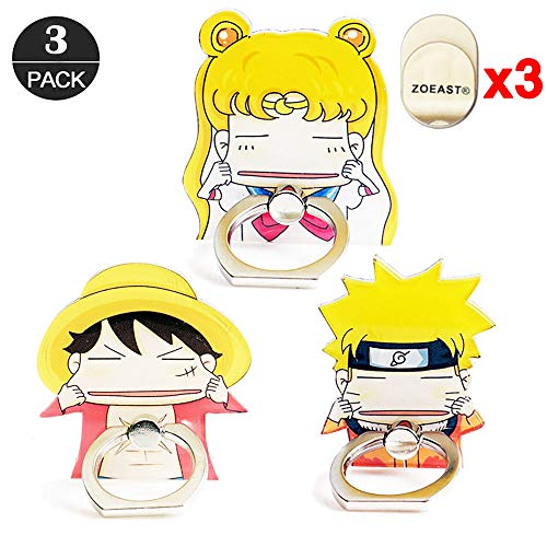 ZOEAST(TM) 3pcs Phone Ring Stand Make Face Luffy Naruto Sailor Moon Universal 360° Adjustable Holder Car Hook Grip Stent Mount Kickstand Compatible with iPhone X Plus Samsung iPad Tablet (3pcs Yellow) ()