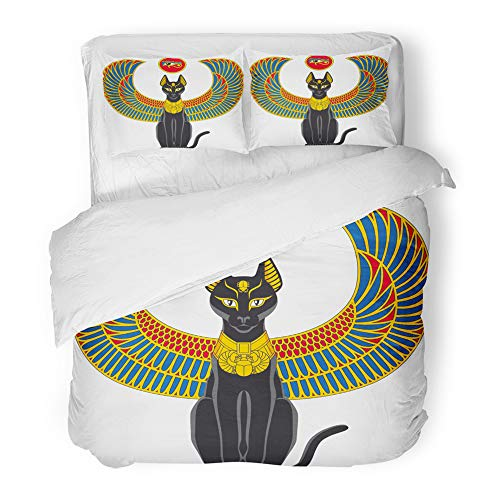 Emvency Decor Duvet Cover Set Twin Size Black Egypt of Egyptian Cat with Wings White Scarab Beetle Culture Elegance 3 Piece Brushed Microfiber Fabric Print Bedding Set Cover