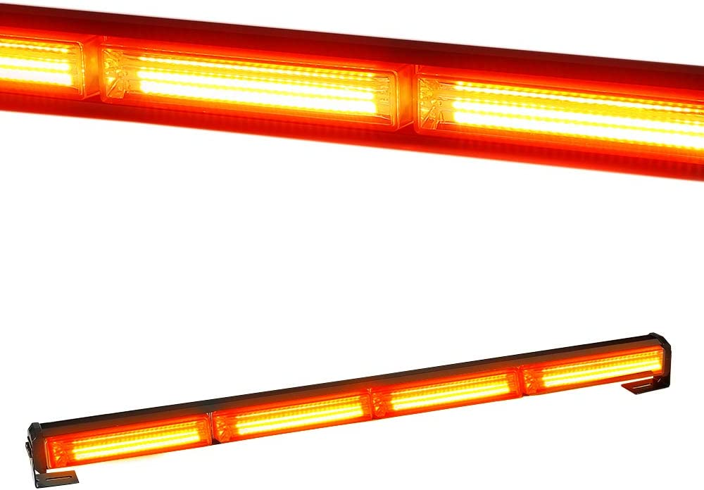 VKGAT 30 28LED 15 Flash Patterns Hazard Emergency Warning Tow Traffic Advisor Flash Strobe Light Bar with Cigar Lighter and Suction Cups Amber//White