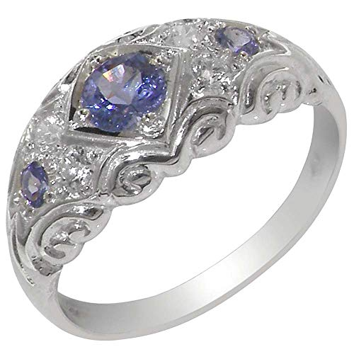 925 Sterling Silver Natural Tanzanite and Diamond Womens Band Ring - Sizes 4 to 12 Available