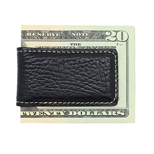 Black Genuine Leather Magnetic Money Clip Money Holder - Arizona Bison Grain Gift Box - Factory Direct - Made in USA by Real Leather Creations FBA270