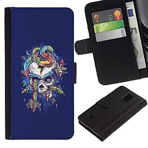 Stuss Case / Funda Carcasa PU de Cuero - Arco iris púrpura del cráneo de la serpiente azul - Samsung Galaxy S5 Mini, SM-G800