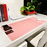 "Cindy&Will Extra Large Protective Office Desk Mat/Mouse Pad/Table Organizer/Desk Protector/Card Schedule Pockets for Desktops and Laptops, 27.7""x12.6""(Pink)"