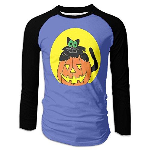 Men's A Cartoon Black Cat with Pumpkin Graphic Cotton Long Sleeve Raglan T-Shirts -
