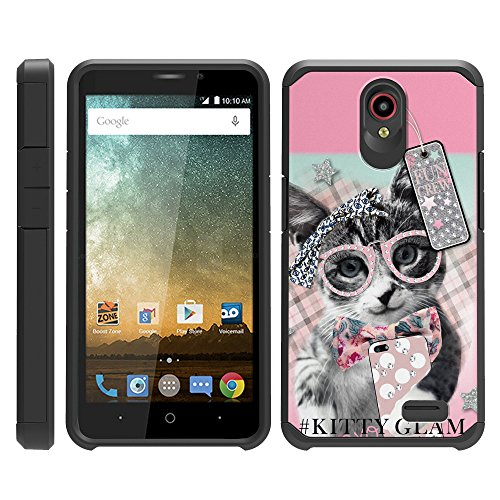 TurtleArmor | Compatible for ZTE Prestige 2 Case | ZTE Maven 3 Case | ZTE Overture 3 Case | Slim Armor Hard Dual Layer Hybrid Case Girl Designs - Hipster Cat