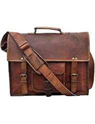 IndianHandoArt 15 Inch Leather Messenger Bag vintange satchel bag Crossbody Bags for Men and Women unisex office...