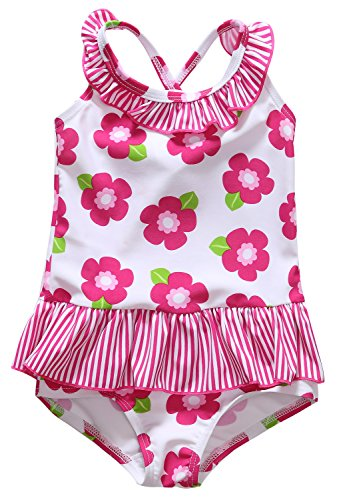 Alove Baby Girl's Floral One Piece Striped Ruffle Swimsuit 0-6 Months